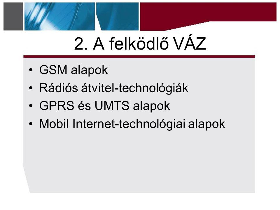 2. A felködlő VÁZ GSM alapok Rádiós átvitel-technológiák GPRS és UMTS alapok Mobil Internet-technológiai alapok
