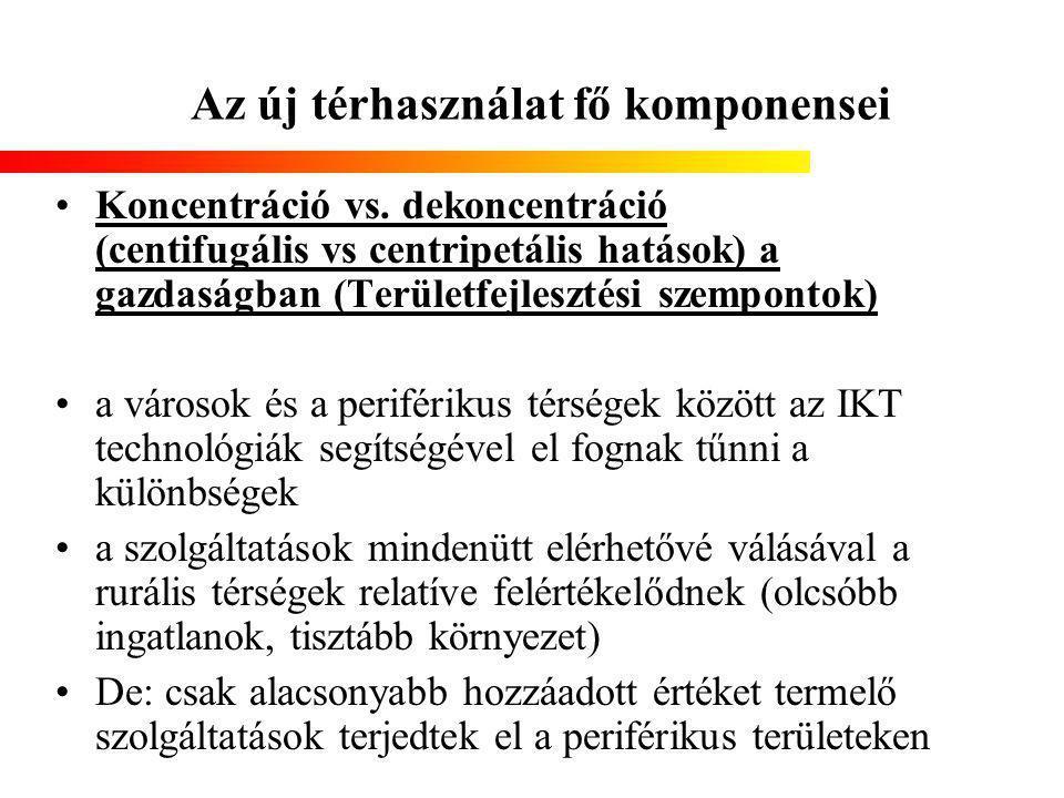 Az új térhasználat fő komponensei Koncentráció vs. dekoncentráció (centifugális vs centripetális hatások) a gazdaságban (Területfejlesztési szempontok