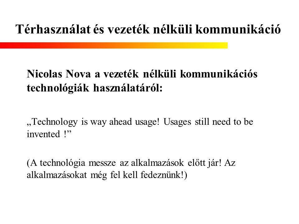 """Térhasználat és vezeték nélküli kommunikáció Nicolas Nova a vezeték nélküli kommunikációs technológiák használatáról: """"Technology is way ahead usage."""