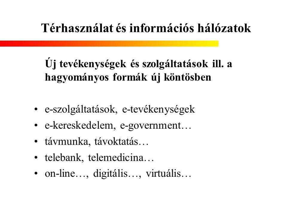 Térhasználat és információs hálózatok Új tevékenységek és szolgáltatások ill.