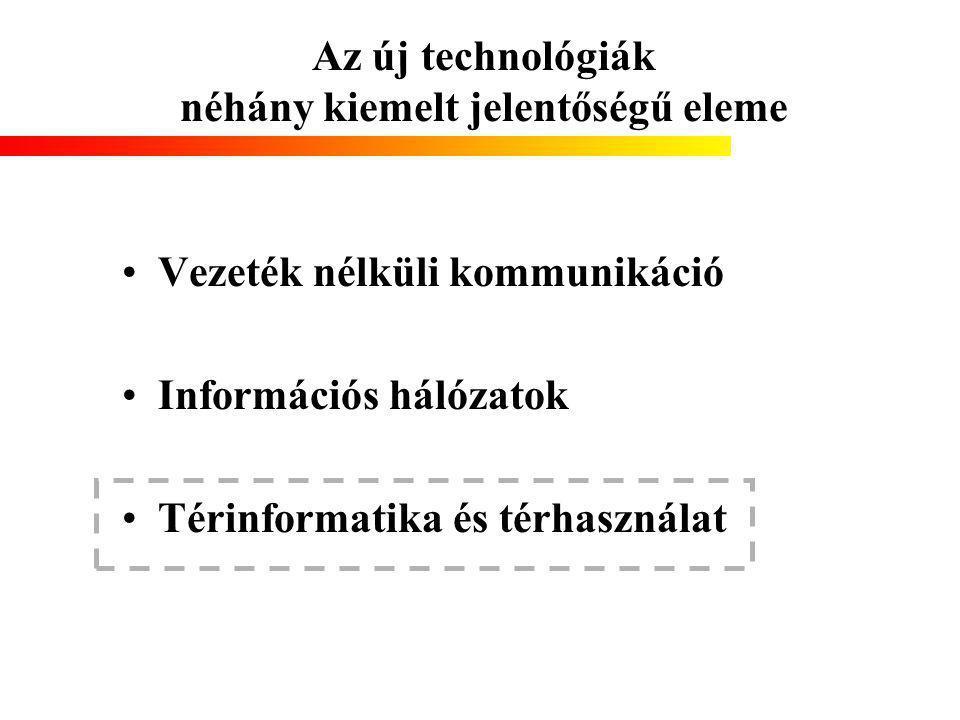 Az új technológiák néhány kiemelt jelentőségű eleme Vezeték nélküli kommunikáció Információs hálózatok Térinformatika és térhasználat