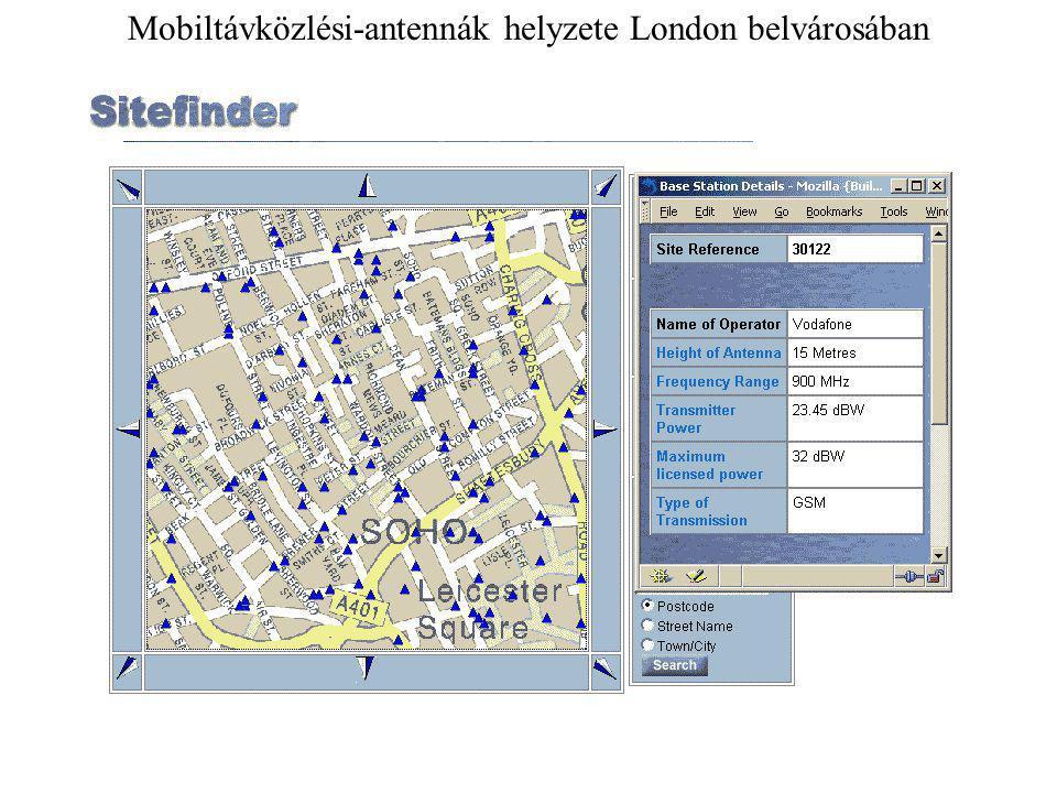 Mobiltávközlési-antennák helyzete London belvárosában