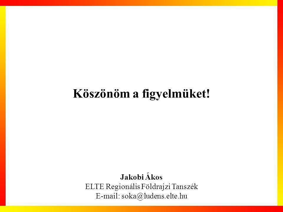 Köszönöm a figyelmüket! Jakobi Ákos ELTE Regionális Földrajzi Tanszék E-mail: soka@ludens.elte.hu