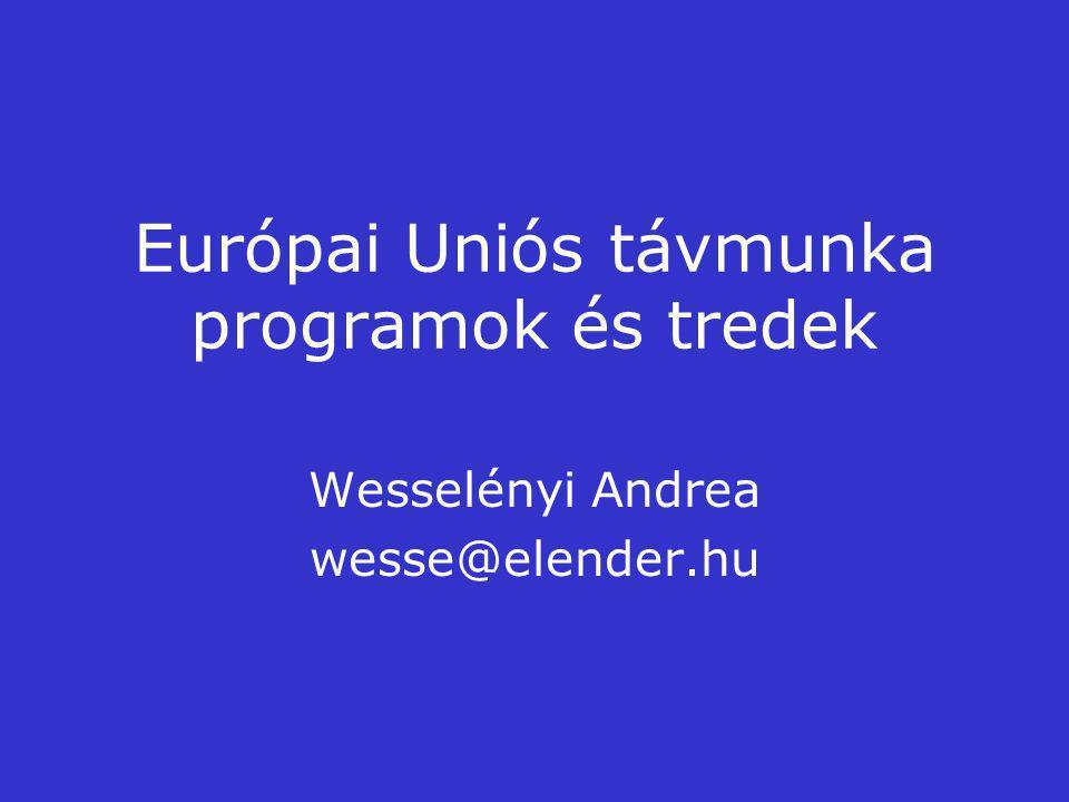 Európai Uniós távmunka programok és tredek Wesselényi Andrea wesse@elender.hu