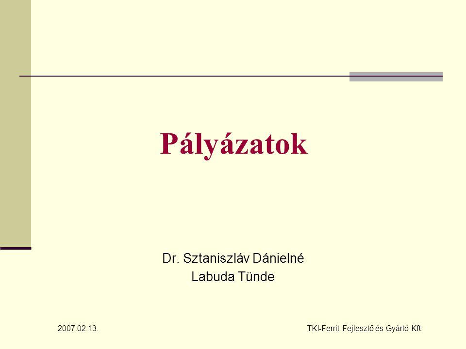 Pályázatok Dr. Sztaniszláv Dánielné Labuda Tünde TKI-Ferrit Fejlesztő és Gyártó Kft.2007.02.13.