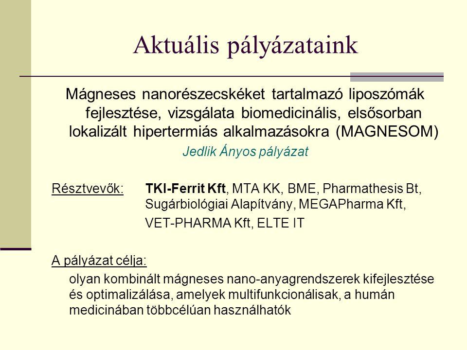 Aktuális pályázataink Mágneses nanorészecskéket tartalmazó liposzómák fejlesztése, vizsgálata biomedicinális, elsősorban lokalizált hipertermiás alkalmazásokra (MAGNESOM) Jedlik Ányos pályázat Résztvevők: TKI-Ferrit Kft, MTA KK, BME, Pharmathesis Bt, Sugárbiológiai Alapítvány, MEGAPharma Kft, VET-PHARMA Kft, ELTE IT A pályázat célja: olyan kombinált mágneses nano-anyagrendszerek kifejlesztése és optimalizálása, amelyek multifunkcionálisak, a humán medicinában többcélúan használhatók