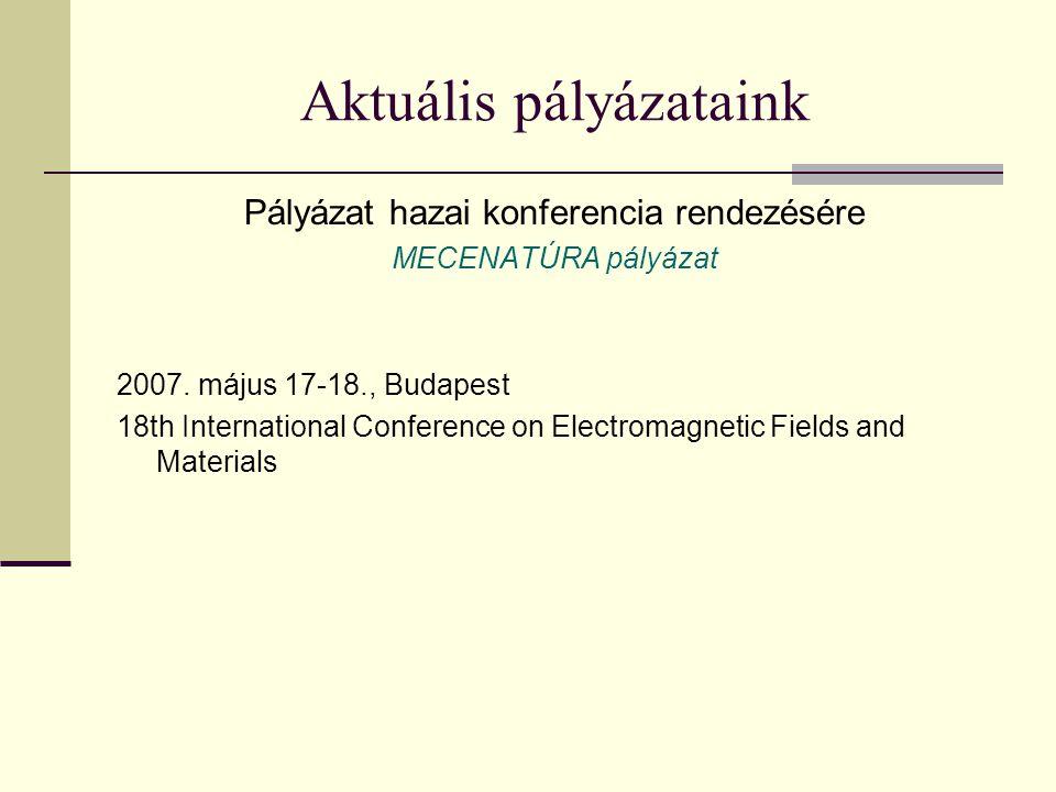 Aktuális pályázataink Pályázat hazai konferencia rendezésére MECENATÚRA pályázat 2007.