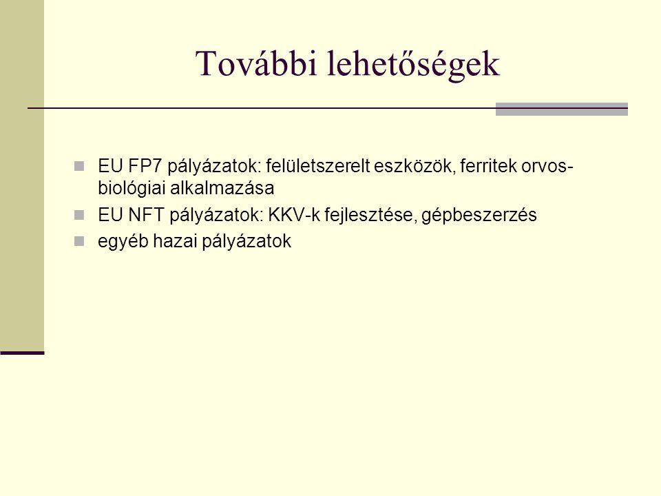 További lehetőségek EU FP7 pályázatok: felületszerelt eszközök, ferritek orvos- biológiai alkalmazása EU NFT pályázatok: KKV-k fejlesztése, gépbeszerzés egyéb hazai pályázatok