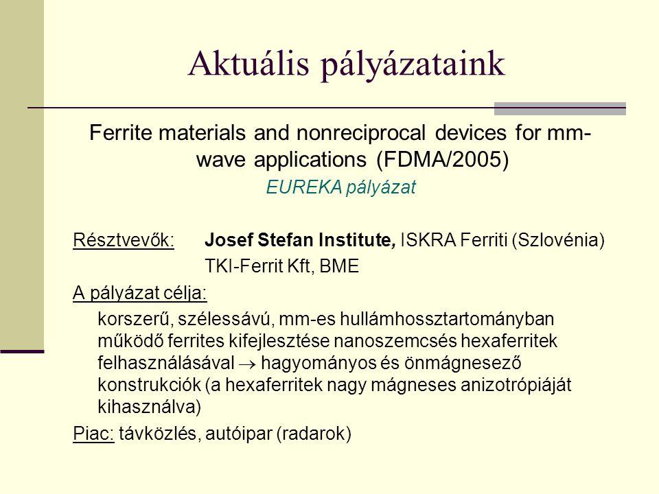 Aktuális pályázataink Ferrite materials and nonreciprocal devices for mm- wave applications (FDMA/2005) EUREKA pályázat Résztvevők:Josef Stefan Institute, ISKRA Ferriti (Szlovénia) TKI-Ferrit Kft, BME A pályázat célja: korszerű, szélessávú, mm-es hullámhossztartományban működő ferrites kifejlesztése nanoszemcsés hexaferritek felhasználásával  hagyományos és önmágnesező konstrukciók (a hexaferritek nagy mágneses anizotrópiáját kihasználva) Piac: távközlés, autóipar (radarok)