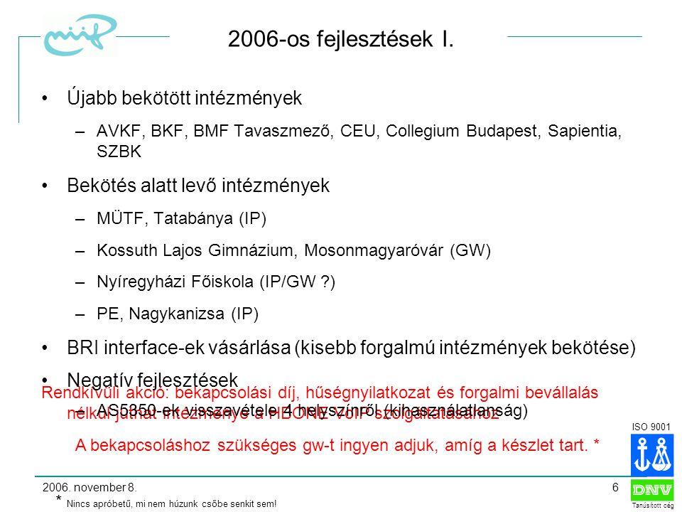 ISO 9001 Tanúsított cég 2006. november 8.6 2006-os fejlesztések I.