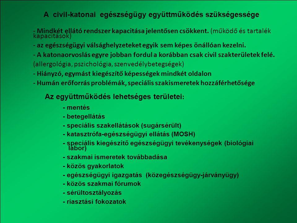 Egészségügyi szervek és a rendőrség együttműködése Baleseti kárhely Katasztrófa területe Járványügyi határozat foganatosítása Karantén KKB NVK Megyei védelmi bizottságok Helyi védelmi bizottságok Védekezési munkabizottságok Eü-i tevékenységhez rendőri segítség Kiemelt rendezvények biztosítása Az OKF és az egészségügyi ágazat együttműködése Többcélú készletek átadása A polgári védelmi szervezetek szakmai támogatási igényeinek egyeztetése Közegészségügyi- járványügyi tevékenység és együttműködés jogi hátterének kialakítása (MH, rendvédelmi szervek)