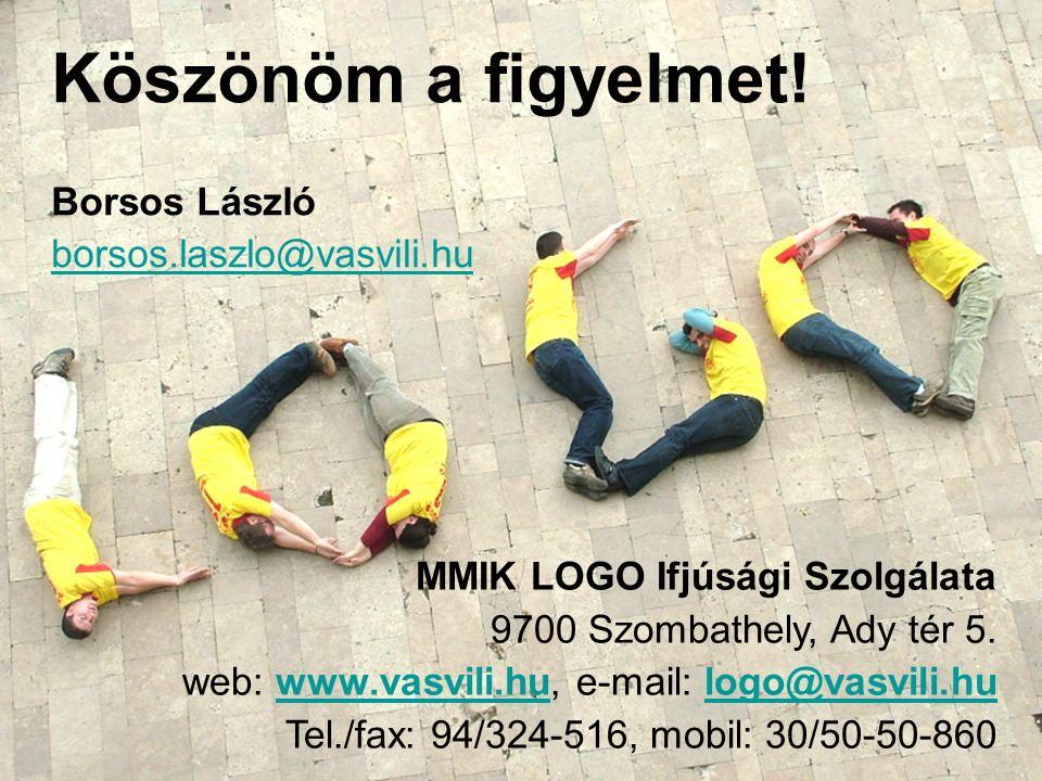 Köszönöm a figyelmet! Borsos László borsos.laszlo@vasvili.hu MMIK LOGO Ifjúsági Szolgálata 9700 Szombathely, Ady tér 5. web: www.vasvili.hu, e-mail: l