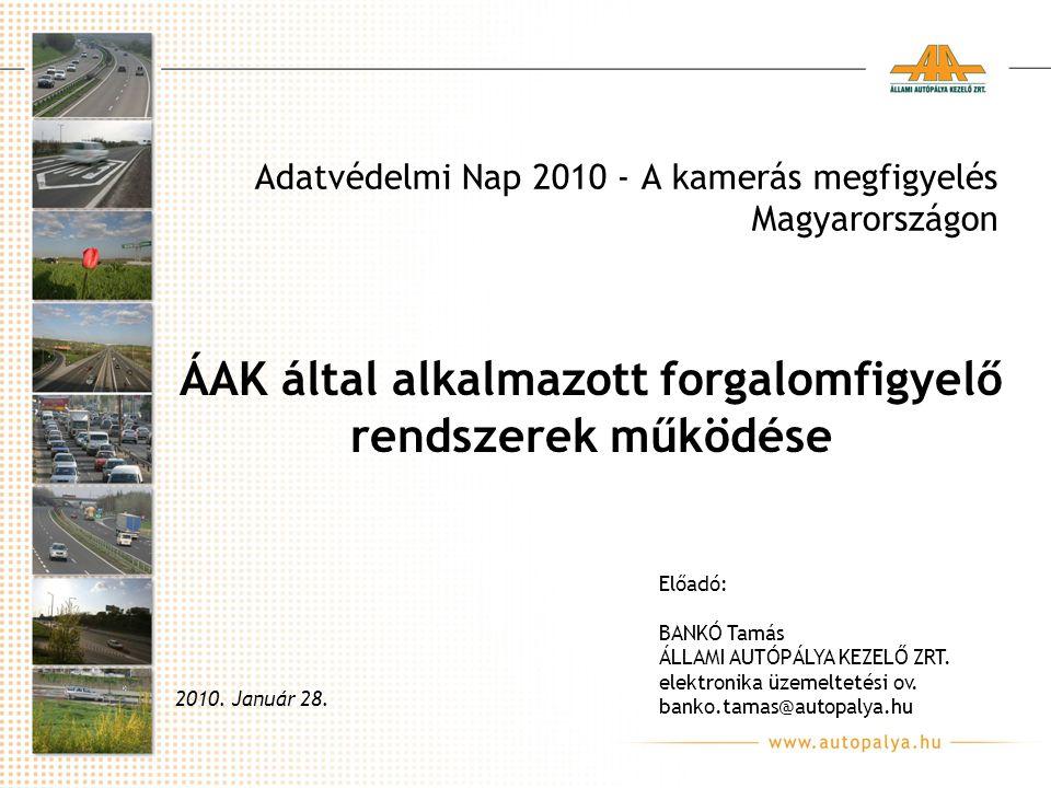 Adatvédelmi Nap 2010 - A kamerás megfigyelés Magyarországon 2010. Január 28. Előadó: BANKÓ Tamás ÁLLAMI AUTÓPÁLYA KEZELŐ ZRT. elektronika üzemeltetési