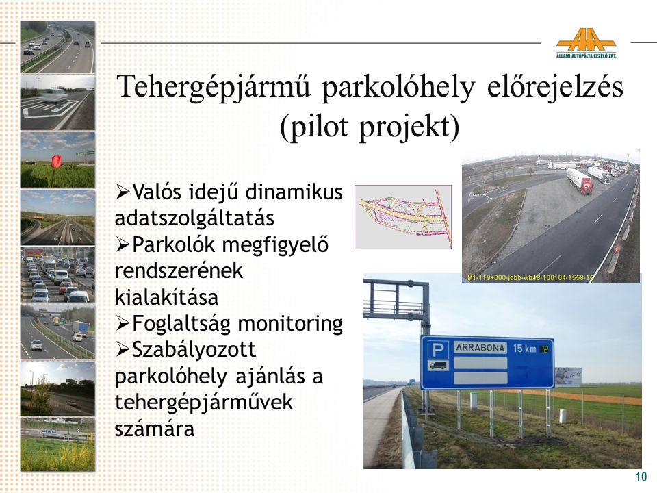 10 Tehergépjármű parkolóhely előrejelzés (pilot projekt)  Valós idejű dinamikus adatszolgáltatás  Parkolók megfigyelő rendszerének kialakítása  Fog