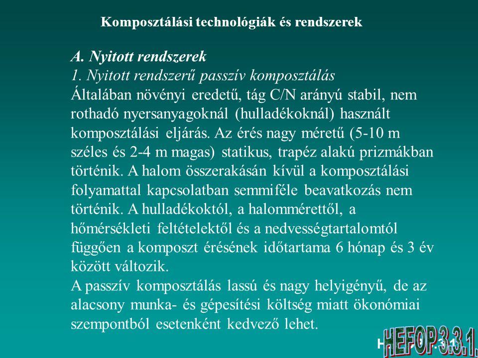 HEFOP 3.3.1. Komposztálási technológiák és rendszerek A. Nyitott rendszerek 1. Nyitott rendszerű passzív komposztálás Általában növényi eredetű, tág C
