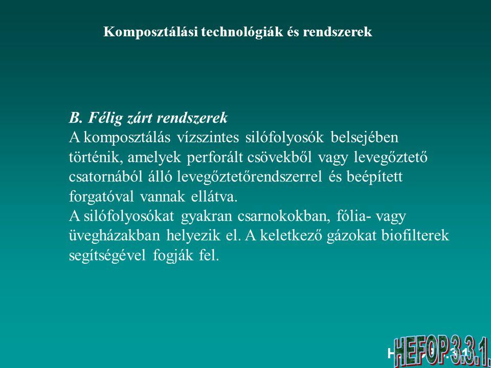 HEFOP 3.3.1. Komposztálási technológiák és rendszerek B. Félig zárt rendszerek A komposztálás vízszintes silófolyosók belsejében történik, amelyek per