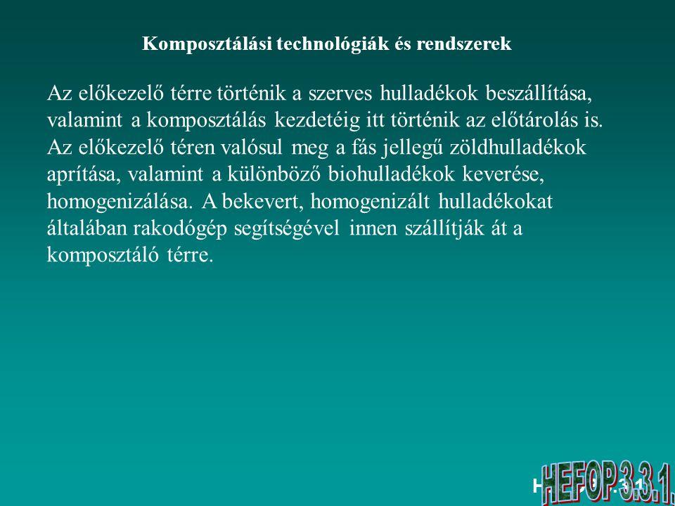 HEFOP 3.3.1. Komposztálási technológiák és rendszerek Az előkezelő térre történik a szerves hulladékok beszállítása, valamint a komposztálás kezdetéig