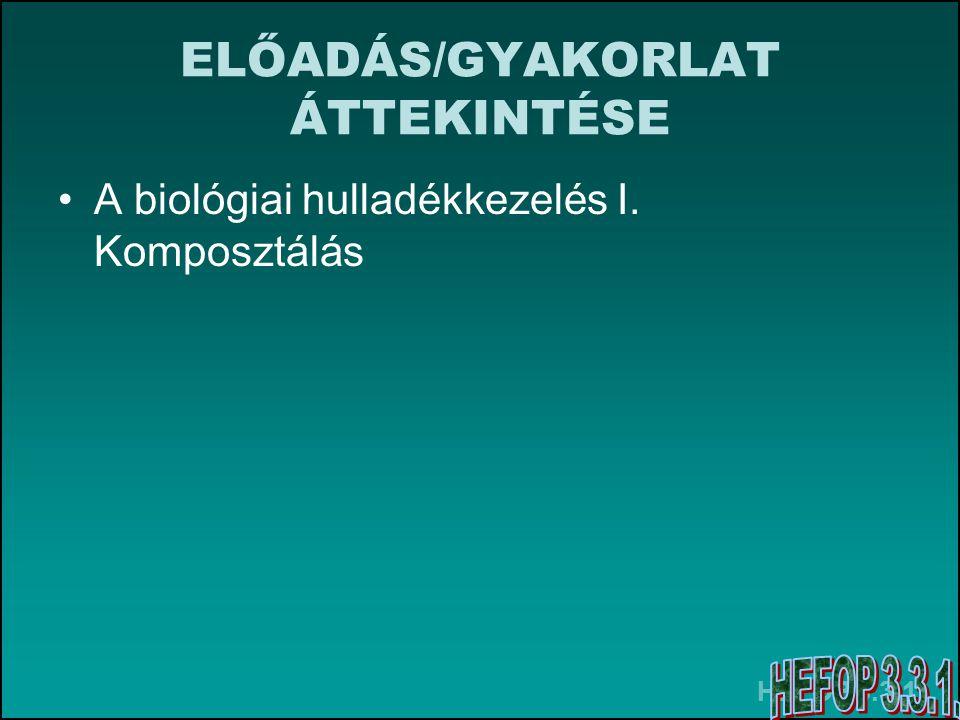 HEFOP 3.3.1. ELŐADÁS/GYAKORLAT ÁTTEKINTÉSE A biológiai hulladékkezelés I. Komposztálás