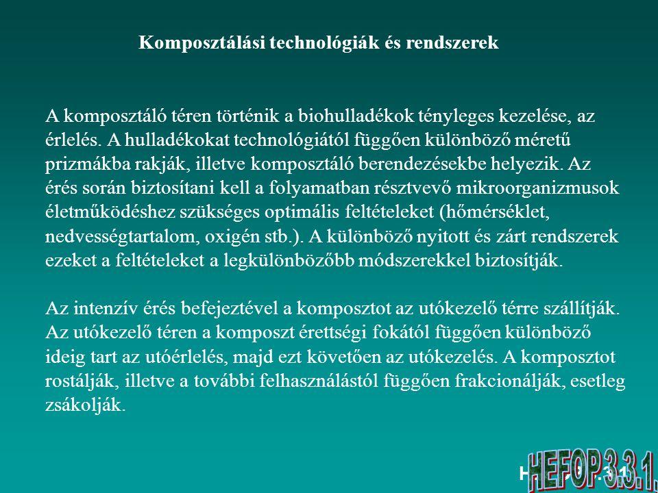 HEFOP 3.3.1. Komposztálási technológiák és rendszerek A komposztáló téren történik a biohulladékok tényleges kezelése, az érlelés. A hulladékokat tech