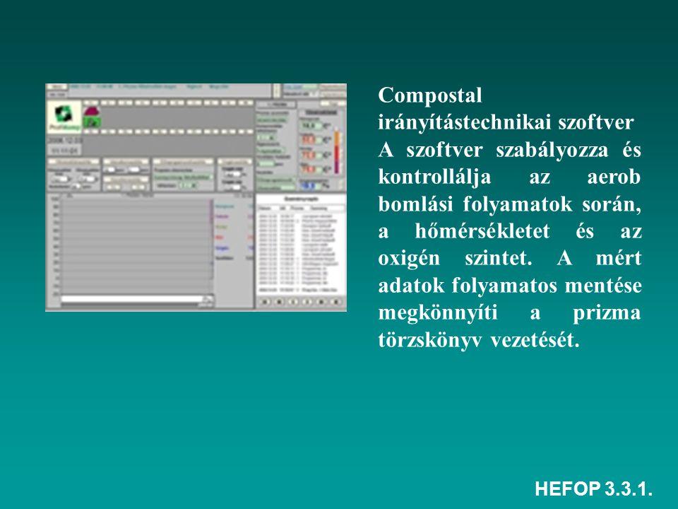 HEFOP 3.3.1. Compostal irányítástechnikai szoftver A szoftver szabályozza és kontrollálja az aerob bomlási folyamatok során, a hőmérsékletet és az oxi