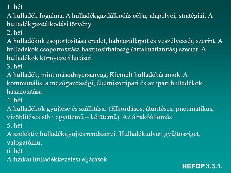 HEFOP 3.3.1. 1. hét A hulladék fogalma. A hulladékgazdálkodás célja, alapelvei, stratégiái. A hulladékgazdálkodási törvény. 2. hét A hulladékok csopor