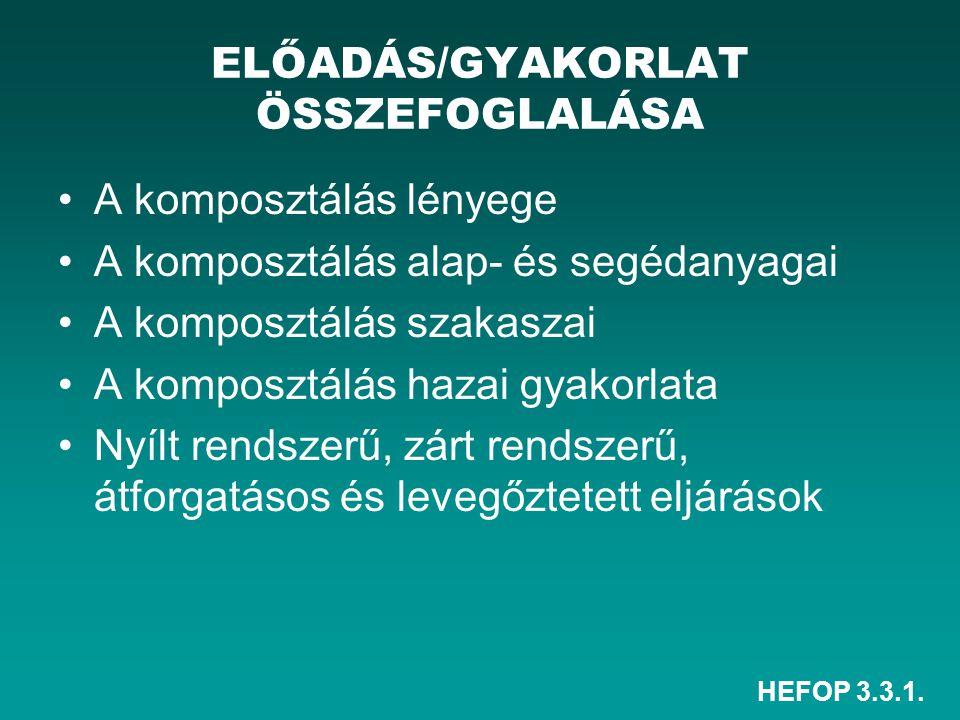 HEFOP 3.3.1. ELŐADÁS/GYAKORLAT ÖSSZEFOGLALÁSA A komposztálás lényege A komposztálás alap- és segédanyagai A komposztálás szakaszai A komposztálás haza