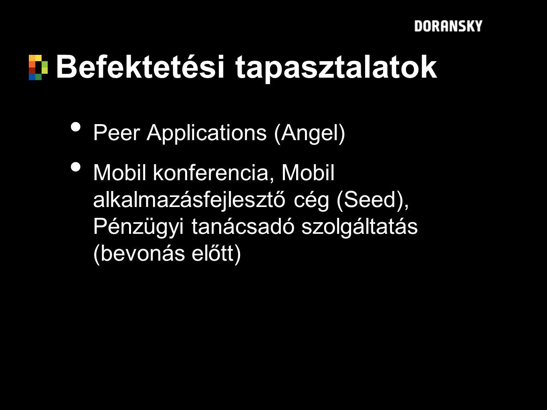 Befektetési tapasztalatok Peer Applications (Angel) Mobil konferencia, Mobil alkalmazásfejlesztő cég (Seed), Pénzügyi tanácsadó szolgáltatás (bevonás előtt) Peer Applications (Angel) Mobil konferencia, Mobil alkalmazásfejlesztő cég (Seed), Pénzügyi tanácsadó szolgáltatás (bevonás előtt)