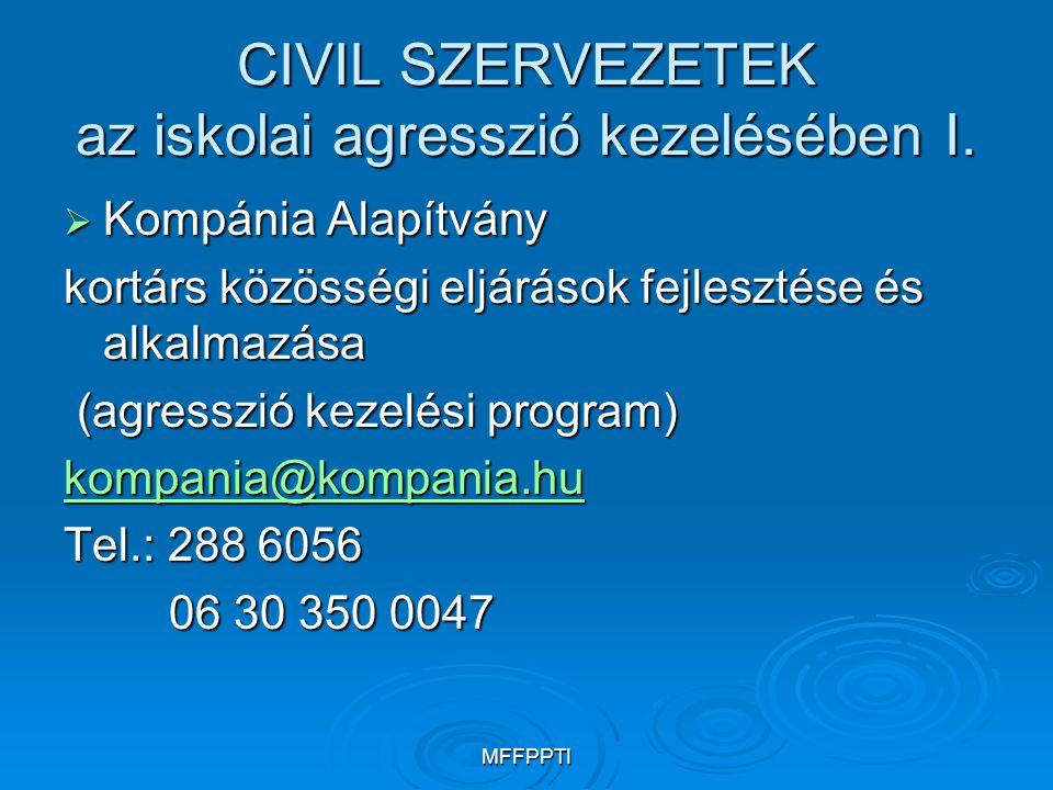 MFFPPTI CIVIL SZERVEZETEK az iskolai agresszió kezelésében I.  Kompánia Alapítvány kortárs közösségi eljárások fejlesztése és alkalmazása (agresszió