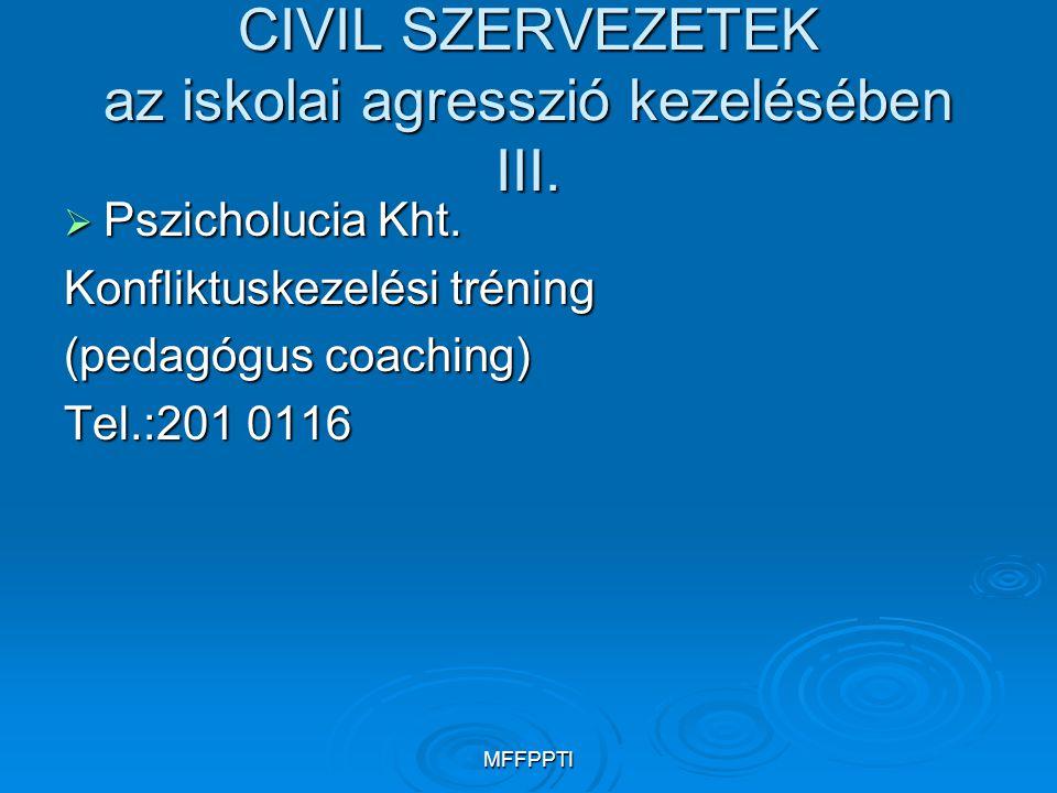 MFFPPTI CIVIL SZERVEZETEK az iskolai agresszió kezelésében III.  Pszicholucia Kht. Konfliktuskezelési tréning (pedagógus coaching) Tel.:201 0116