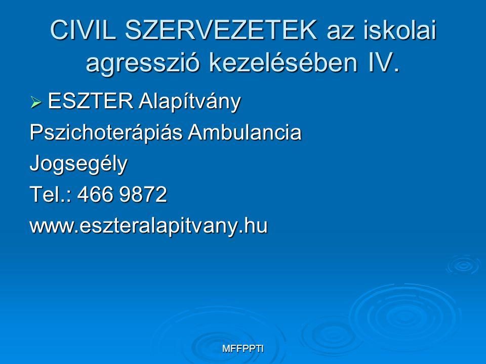 MFFPPTI CIVIL SZERVEZETEK az iskolai agresszió kezelésében IV.  ESZTER Alapítvány Pszichoterápiás Ambulancia Jogsegély Tel.: 466 9872 www.eszteralapi