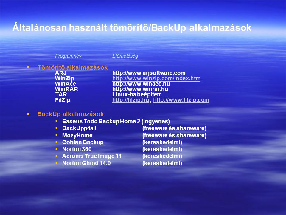 Általánosan használt tömörítő/BackUp alkalmazások Programnév Elérhetőség   Tömörítő alkalmazások ARJ http://www.arjsoftware.com WinZip http://www.wi