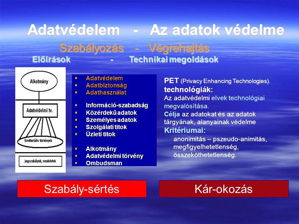 Adatvédelem kezelése, megoldása számítógépes rendszereknél  A fogalmak pontosítása  Adatvédelem  A jogi szabályozásai és előírásai  Adatbiztonság  Az adatok védelme érdekében tett technikai megoldásokat és intézkedéseket szoktunk érteni.