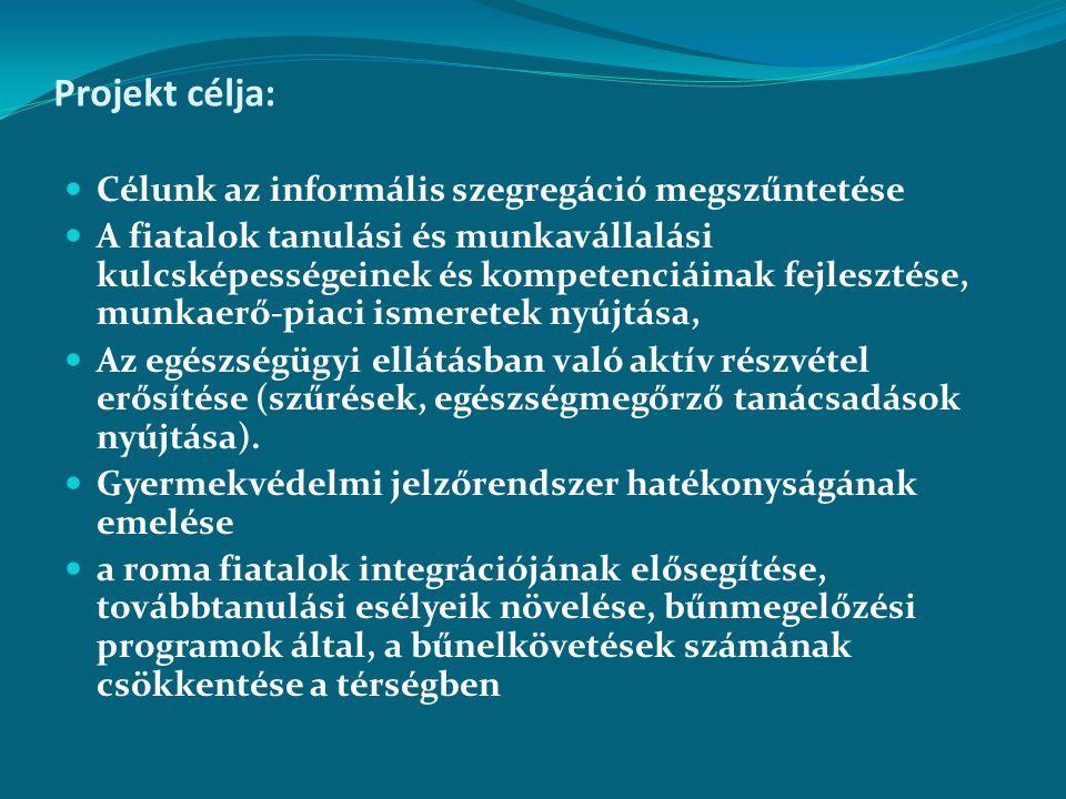 Projekt humánerőforrás igénye: Központi iroda: 4 fő (szakmai vezető, pénzügyi vezető, koordinátor, adminisztrátor) Mobil team: 4 fő ( pedagógus, szociális szakember, egészségügyben jártas szakember, adminisztrátor) települési összekötők: 15 fő (29 település romák lakta településrészeiről kerülnének ki az ott élők közül)