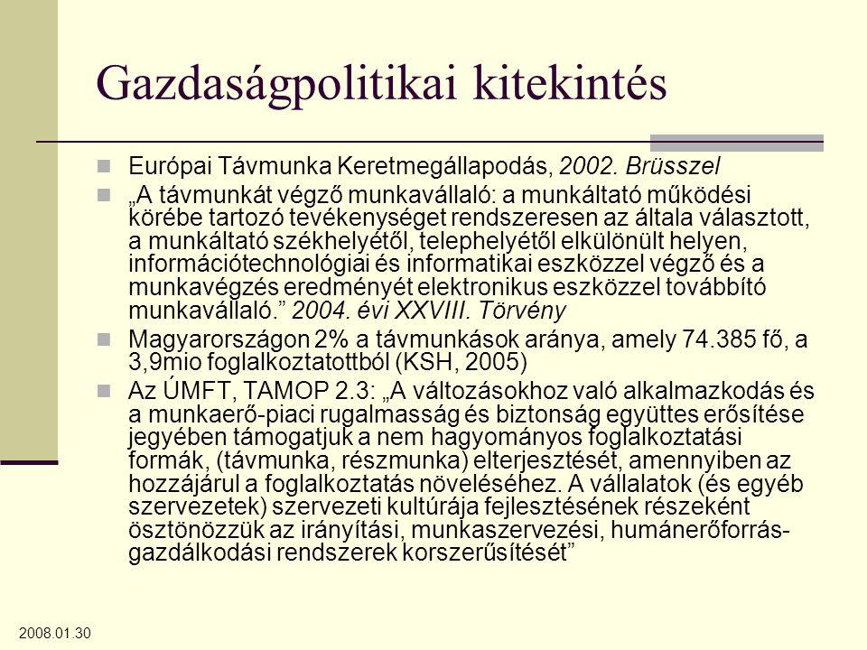 """2008.01.30 Gazdaságpolitikai kitekintés Európai Távmunka Keretmegállapodás, 2002. Brüsszel """"A távmunkát végző munkavállaló: a munkáltató működési köré"""