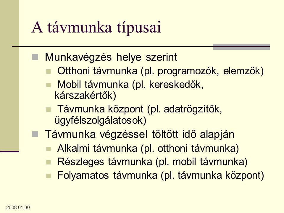 2008.01.30 A távmunka típusai Munkavégzés helye szerint Otthoni távmunka (pl. programozók, elemzők) Mobil távmunka (pl. kereskedők, kárszakértők) Távm