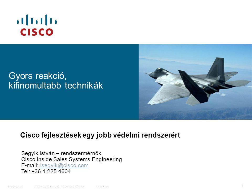 12 © 2009 Cisco Systems, Inc. All rights reserved.Cisco PublicGyors reakció