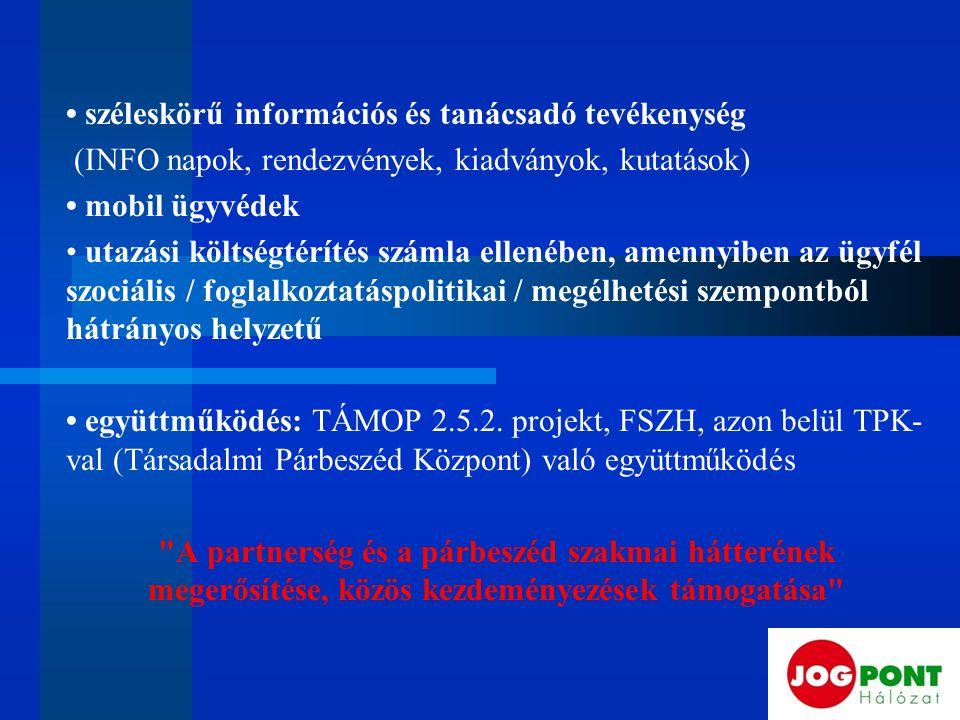 széleskörű információs és tanácsadó tevékenység (INFO napok, rendezvények, kiadványok, kutatások) mobil ügyvédek utazási költségtérítés számla ellenében, amennyiben az ügyfél szociális / foglalkoztatáspolitikai / megélhetési szempontból hátrányos helyzetű együttműködés: TÁMOP 2.5.2.