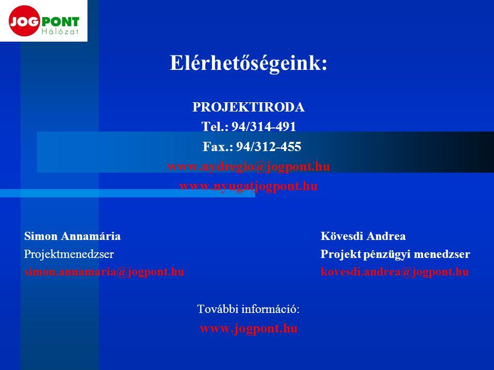Elérhetőségeink: PROJEKTIRODA Tel.: 94/314-491 Fax.: 94/312-455 www.nydregio@jogpont.hu www.nyugatjogpont.hu Simon AnnamáriaKövesdi Andrea Projektmene