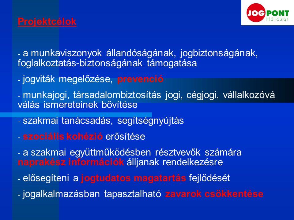 Projektcélok - a munkaviszonyok állandóságának, jogbiztonságának, foglalkoztatás-biztonságának támogatása - jogviták megelőzése, prevenció - munkajogi, társadalombiztosítás jogi, cégjogi, vállalkozóvá válás ismereteinek bővítése - szakmai tanácsadás, segítségnyújtás - szociális kohézió erősítése - a szakmai együttműködésben résztvevők számára naprakész információk álljanak rendelkezésre - elősegíteni a jogtudatos magatartás fejlődését - jogalkalmazásban tapasztalható zavarok csökkentése