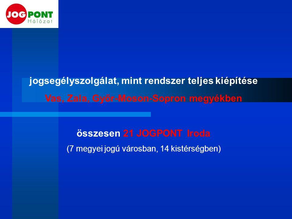 jogsegélyszolgálat, mint rendszer teljes kiépítése Vas, Zala, Győr-Moson-Sopron megyékben összesen 21 JOGPONT Iroda (7 megyei jogú városban, 14 kistérségben)