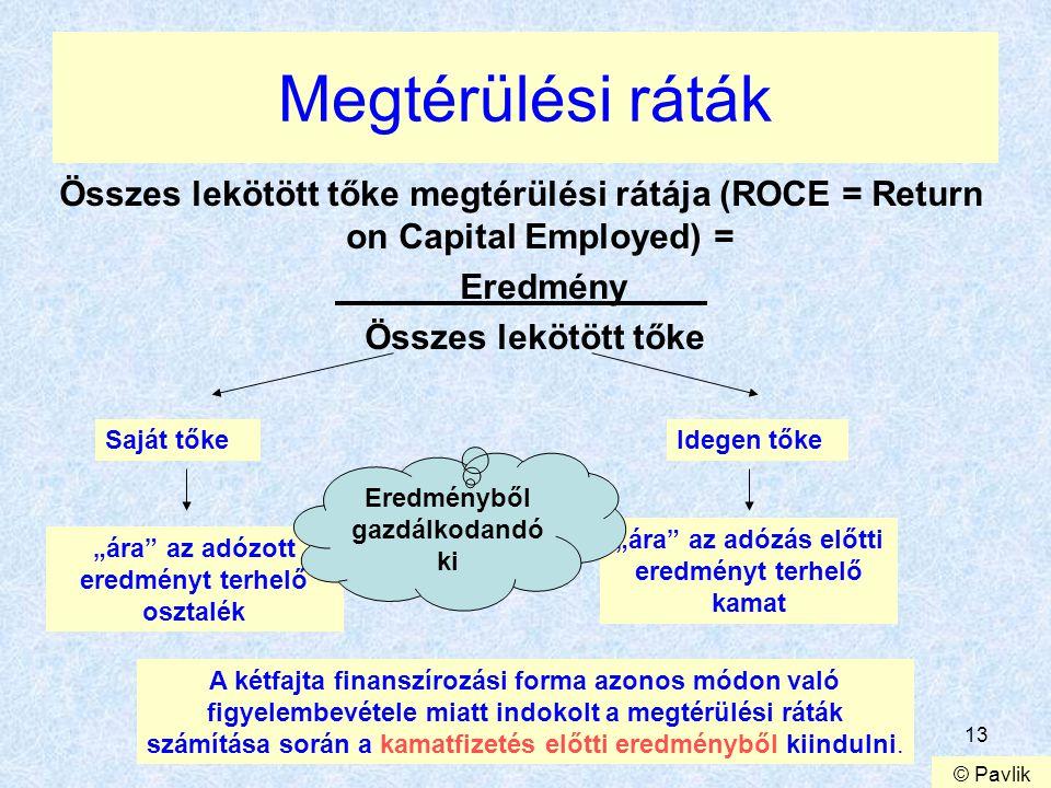 """13 Megtérülési ráták Összes lekötött tőke megtérülési rátája (ROCE = Return on Capital Employed) = Eredmény Összes lekötött tőke """"ára"""" az adózott ered"""