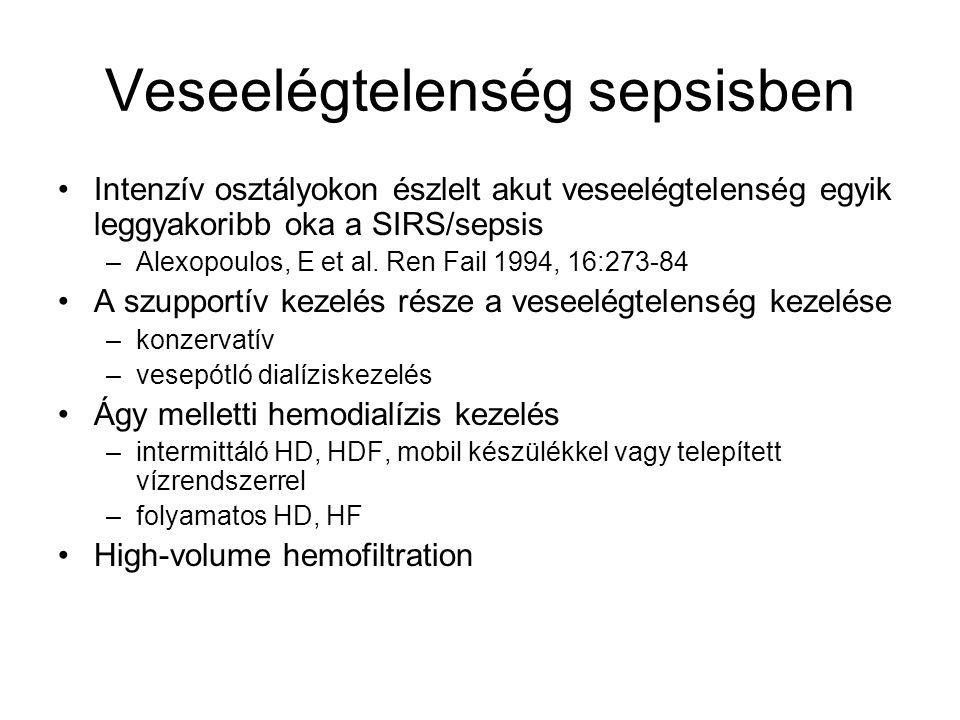 A folyamatos kezelések hátrányai Folyamatos antikoagulálás szükséges Beteg immobilis (24 h helyett 18 órás kezelés) Aminosav (~145 d), foszfát, Vitamin-C, B1 vesztés Hőveszteség Intenzív osztályos személyzet megismertetése a technikával Alternatíva a mindennapos HD (6 nap/hét) a folyadékeltávolítás rátája és clearance vonatkozásában A folyamatos és intermittáló kezelések a betegek túlélésére hasonló hatást fejtenek ki.