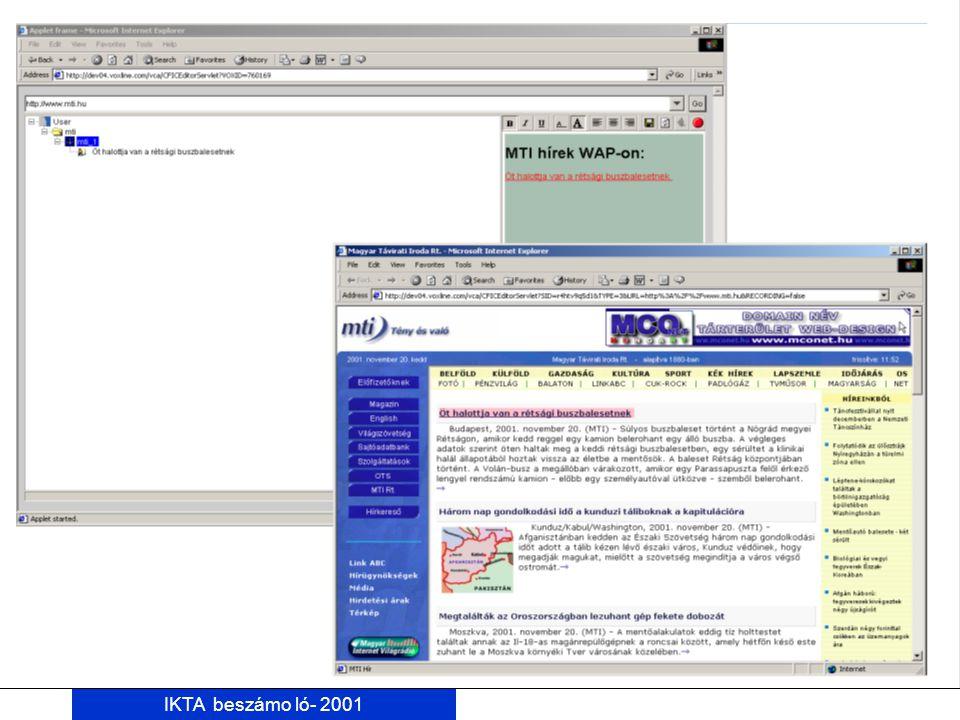 IKTA beszámo ló- 2001 Akadályok