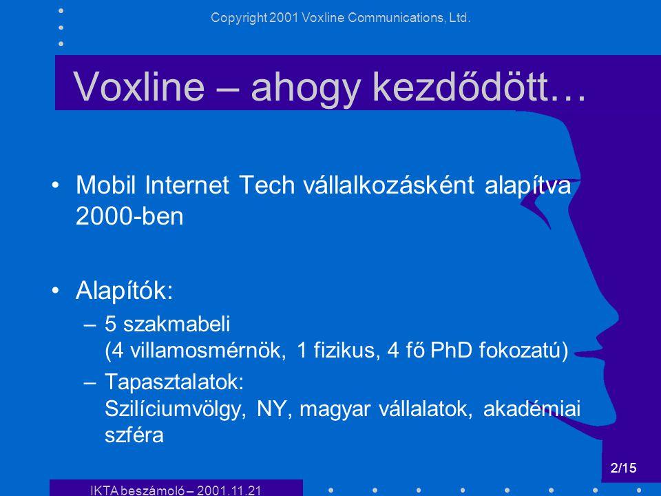 IKTA beszámo ló- 2001 Testre szabott on-line tartalomszűrés és alkalmazása mobil kommunikációban Dr. Harmat Péter projektvezető, üzletfejlesztési igaz