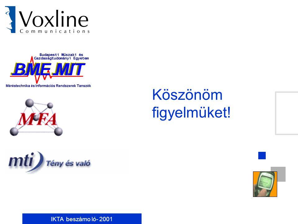 """IKTA beszámo ló- 2001 Munkaösszefoglaló Voxline Kft: BME MIT: MTA MFA: MTI Rt: CFIC információ szűrõ konfiguráló alaprendszerének kialakítása WAP alapú hírszolgáltatási rendszer az MTI on-line tartalmat felhasználva konkrét WEB alapú keretrendszer """"Invariant User Interfaces dokumentáció felhasználói felületek tervezett kialakítását támogató Genuin rendszer """"An Application Programming Environment for Invariant User Interfaces doku """"A Method for Classifying Computer System Devices cikk A konfiguráló és komponens alapú felületek terveit értékelte és kritizálta Dokumentálta és specifikálta hírrendszerét"""