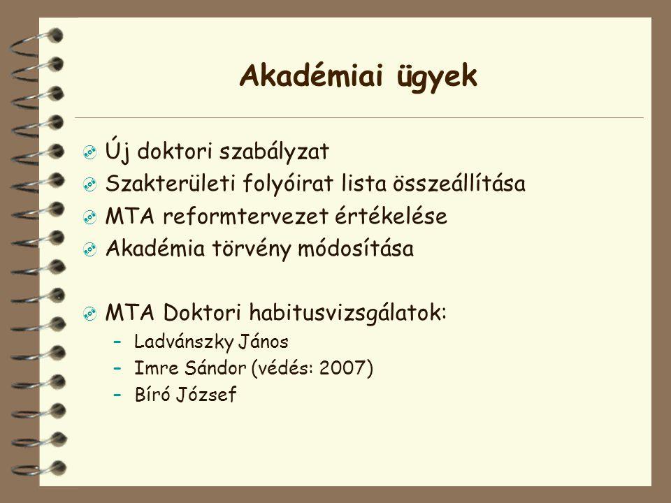 Egyéb ügyek  TRB honlap  Magyar Tudomány célszám (2007.