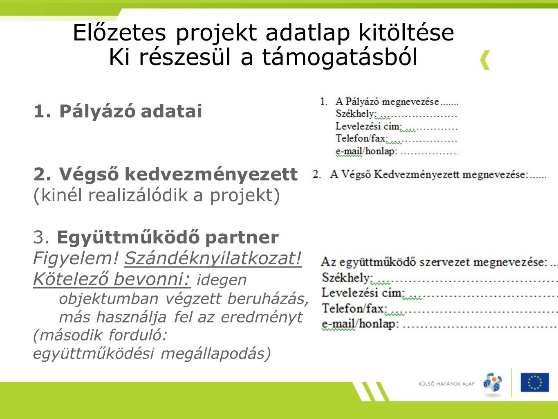 Előzetes projekt adatlap kitöltése Ki részesül a támogatásból 1.Pályázó adatai 2.Végső kedvezményezett (kinél realizálódik a projekt) 3. Együttműködő