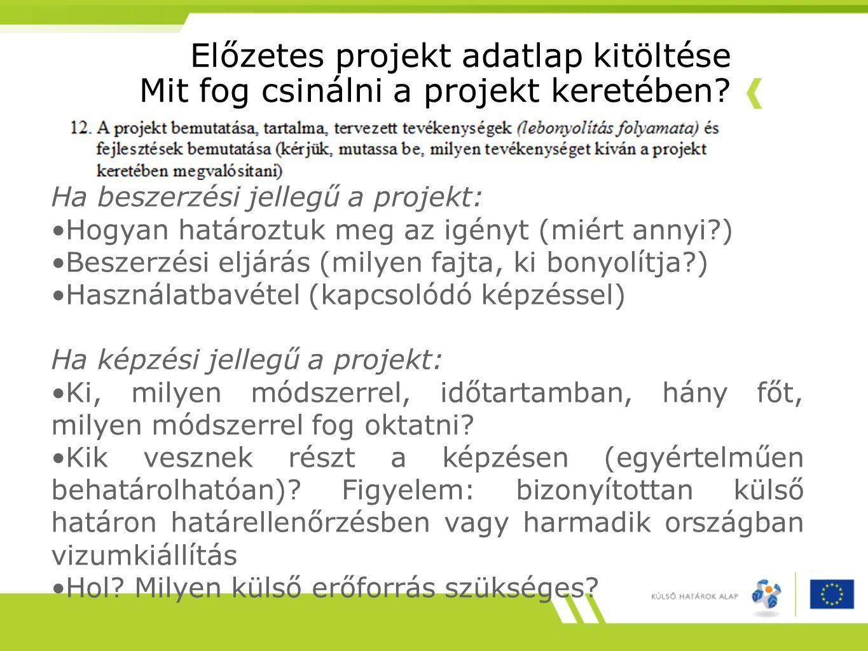 Előzetes projekt adatlap kitöltése Mit fog csinálni a projekt keretében? Ha beszerzési jellegű a projekt: Hogyan határoztuk meg az igényt (miért annyi