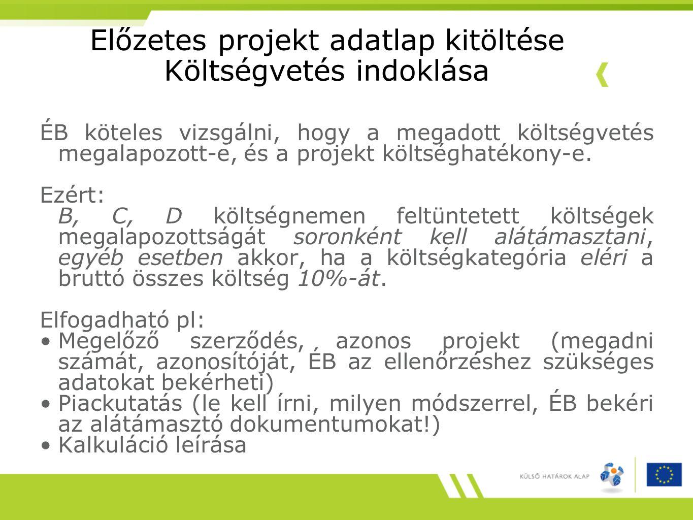 Előzetes projekt adatlap kitöltése Költségvetés indoklása ÉB köteles vizsgálni, hogy a megadott költségvetés megalapozott-e, és a projekt költséghaték