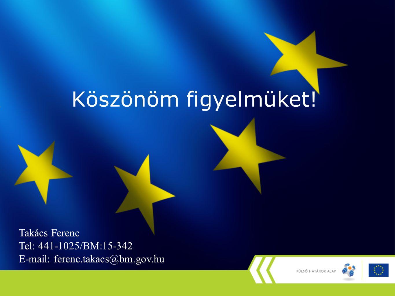 Köszönöm figyelmüket! Takács Ferenc Tel: 441-1025/BM:15-342 E-mail: ferenc.takacs@bm.gov.hu